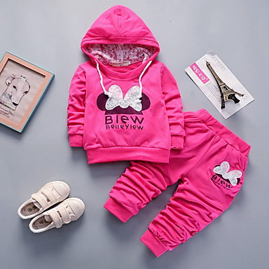cheap Kids' New Arrivals-Baby Girls' Street chic Print Long Sleeve Regular Clothing Set Fuchsia