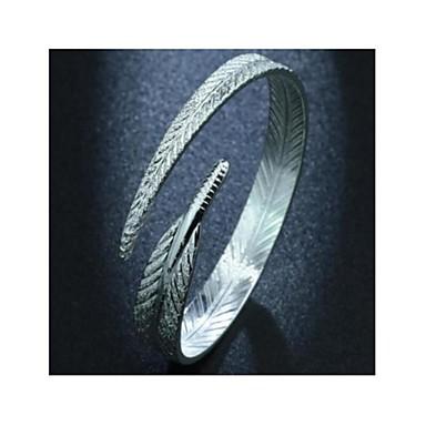 levne Dámské šperky-Dámské Široké náramky Geometrické Peří Módní Náramek šperky Stříbrná Pro Denní Práce