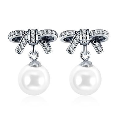 levne Dámské šperky-stříbrné náušnice s lukem ve tvaru stříbrné barvy simulované velké perlové náušnice pro dámské svatební párty na šperky