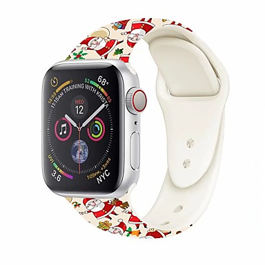 cheap New Arrivals-Watch Band for Apple Watch Series 5/4/3/2/1 Apple Sport Band / Classic Buckle Silicone Wrist Strap Christmas Style