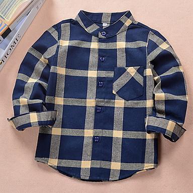 cheap Boys' Tops-Kids Boys' Basic Striped Christmas Long Sleeve Shirt Black