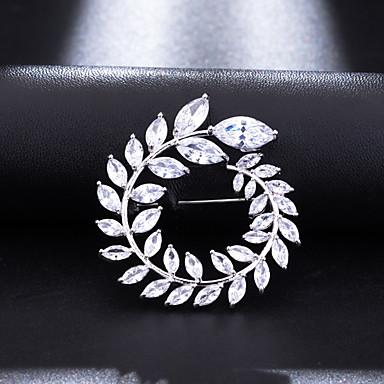 povoljno Značke i broševi-Žene Kubični Zirconia Broševi Klasičan Leaf Shape slatko Elegantno Broš Jewelry Obala Za Vjenčanje Party