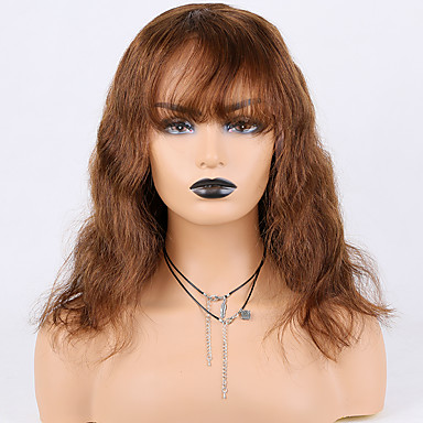 cheap Beauty & Hair-Human Hair Lace Front Wig Deep Parting style Brazilian Hair Wavy Brown Wig 130% Density Women Women's Medium Length Human Hair Lace Wig Premierwigs