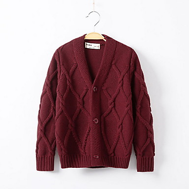 cheap Girls' Sweaters & Cardigans-Kids Girls' Street chic Solid Colored Long Sleeve Sweater & Cardigan Wine
