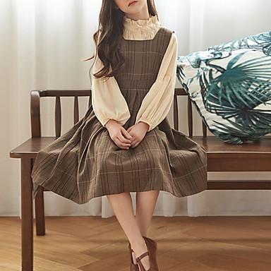 cheap Kids' New Arrivals-Kids Girls' Basic Plaid Long Sleeve Clothing Set Brown