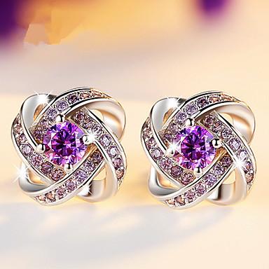 levne Dámské šperky-moderní dámské náušnice 2018 bílé a fialové zirkony jetel náušnice stříbrné módní šperky z nerezové oceli