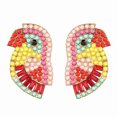 levne Dámské šperky-Dámské Visací náušnice Náušnice Kulaté Ptáček Evropský Moderní Módní Cute Style Umělé diamanty Náušnice Šperky Zlatá / Zelená / Červená Pro Párty Dar Denní Dovolená Práce 1 Pair