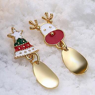 povoljno Modne naušnice-Žene Nesparene naušnice neprilagođeno Los Božićno drvce Slatka Style Naušnice Jewelry Zlato / Srebro Za Božić 1 par