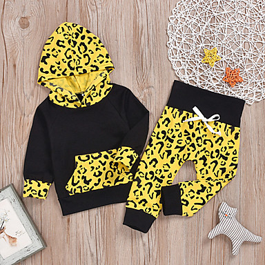 cheap Kids' New Arrivals-Baby Boys' Basic Tiger Leopard Print Long Sleeve Long Regular Clothing Set Black