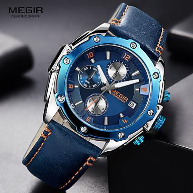 levne Pánské-MEGIR Pánské Sportovní hodinky Letecké hodinky Hybridní hodinky japonština Křemenný Šestičlenná šesticípá Pravá kůže Černá / Hnědá / Tyrkysová 30 m Voděodolné Kalendář Chronograf Analogové Luxus Módní