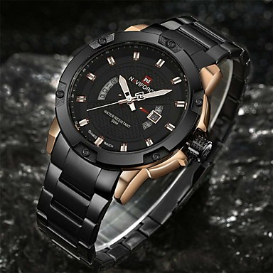 cheap Top Sellers-NAVIFORCE Men's Sport Watch Military Watch Wrist Watch Quartz Charm Water Resistant / Waterproof Stainless Steel Black / Silver Analog - Black / Gold Black Silver / Black Two Years Battery Life