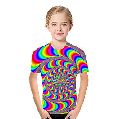 cheap Girls' Tops-Kids Toddler Girls' Active Basic Geometric Print Color Block Print Short Sleeve Tee Rainbow