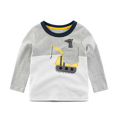 baratos Mais Vendidos-Infantil Para Meninos Básico Estampado Manga Longa Camiseta Cinzento