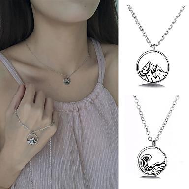 preiswerte Halsketten Herren-exquisite 925 berg halskette ozean welle kragenlose retro runde anhänger einfache schmuck für liebhaberinnen geeignet