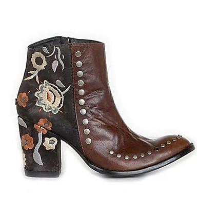 levne Dámská obuv-Dámské Boty Cowboy / Western Boots Kačenka Palec do špičky Nýty Umělá kůže Kotníčkové Vintage Podzim zima Fialová / Světle hnědá
