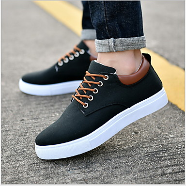 cheap Men's Sneakers-Men's Comfort Shoes Winter Sporty / Casual Daily Outdoor Sneakers Walking Shoes Canvas Breathable Non-slipping White / Black / Red