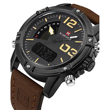 levne Pánské-NAVIFORCE Pánské Sportovní hodinky Vojenské hodinky Náramkové hodinky Digitální Japonské Quartz Pravá kůže Černá / Hnědá / Khaki 30 m Voděodolné Kalendář kreativita Analog - Digitál Přívěšky Luxus