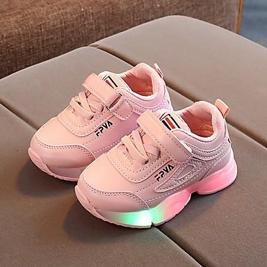 voordelige Kind 'Schoenen-Meisjes LED / Comfortabel / Kinderdag PU Sportschoenen Little Kids (4-7ys) Hardlopen Lichtgevend Wit / Zwart / Roze Herfst