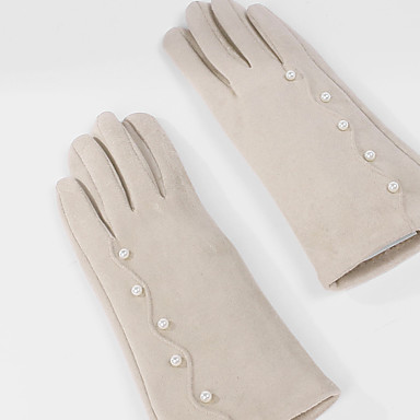 cheap Party Gloves-Suede Wrist Length Glove Artistic Style / Gloves With Faux Pearl