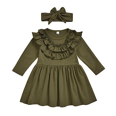 povoljno Odjeća za bebe-Dijete Djevojčice Aktivan / Osnovni Crvena Paisley uzorak / Jednobojni Nabori / Naborano / Kolaž Dugih rukava Midi Haljina Vojska Green