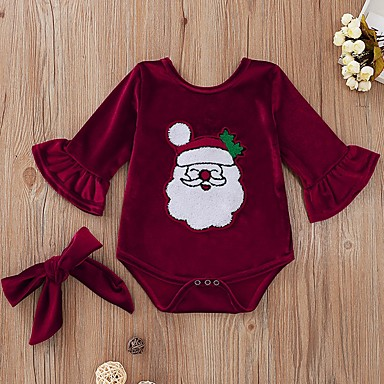 cheap Baby Girls' One-Piece-Baby Girls' Basic Print / Christmas Long Sleeve Cotton Romper Wine / Toddler