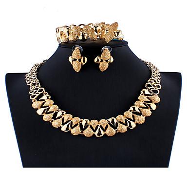 levne Dámské šperky-Dámské Zlatá Svatební šperky Soupravy Link / řetězec Květinový motiv stylové Luxus Náušnice Šperky Zlatá Pro Vánoce Svatební Párty Zásnuby Dar 1 sada