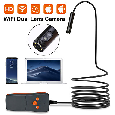 levne Mikroskopy a endoskopy-dvojitá čočka 8mm endoskop hd wifi kamera ip67 vodotěsná inspekční boroskop kamera pro Android notebook notebook 6leds nastavitelný