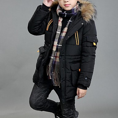 cheap Boys' Jackets & Coats-Kids Boys' Street chic Solid Colored Down & Cotton Padded Black