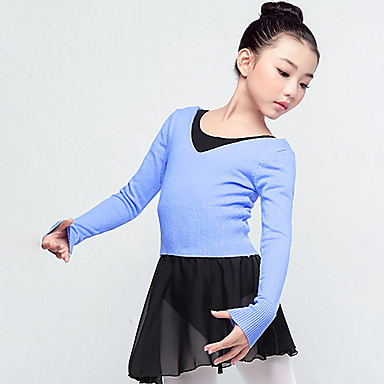 preiswerte Tanzkleider & Tanzschuhe-Ballett Oberteile Mädchen Training / Leistung Acrylfaser Horizontal gerüscht Langarm Normal Top