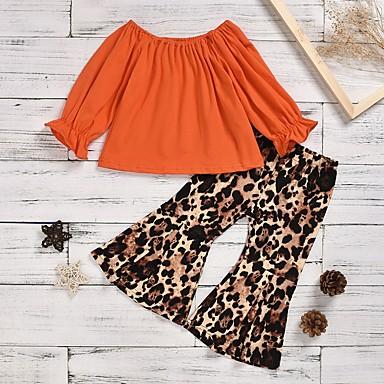 cheap Girls' Clothing Sets-Kids Girls' Basic Leopard Long Sleeve Clothing Set Black