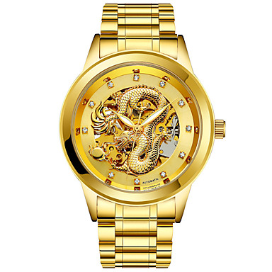 levne Pánské-Pánské mechanické hodinky Automatické natahování Klasický styl Stříbro / Zlatá Svítící Analogové Klasické - Černá Zlatá