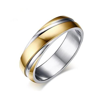 levne Pánské šperky-Pánské Dámské Prsten 1ks Růžové zlato Zlatá Titanová ocel Geometric Shape Módní Denní Dovolená Šperky Geometrické Kytky Cool
