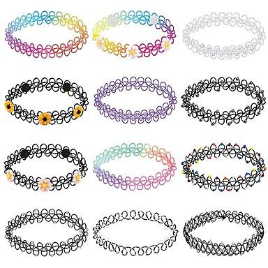 levne Pánské šperky-Pánské Dámské Obojkové náhrdelníky Pletený Jednoduchý Kabel Duhová 32 cm Náhrdelníky Šperky 12ks Pro Denní