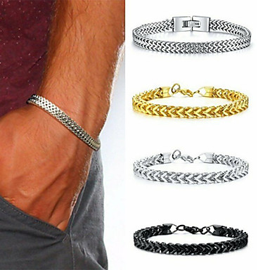cheap Men's Bracelets-Men's Vintage Bracelet Bracelet Earrings / Bracelet Classic Lucky Classic Vintage Punk Trendy Fashion Titanium Steel Bracelet Jewelry Black / Gold / Silver For Gift Daily Holiday Club Festival
