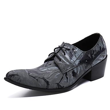 Muškarci Kožne cipele Mekana koža Proljeće / Jesen zima Ležerne prilike / Uglađeni Oksfordice Non-klizanje Sive boje / Zabava i večer