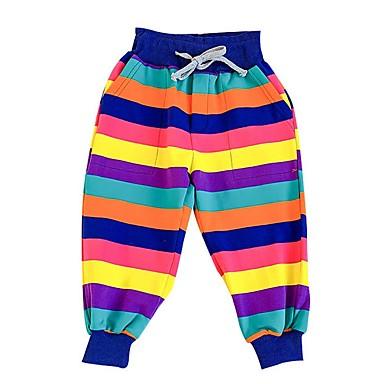 billiga Flickbyxor och leggings-Barn Flickor Randig Byxor Regnbåge