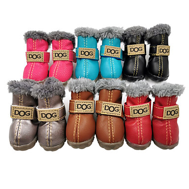 cheap Dog Clothes-Dog Boots / Shoes Snow Boots Solid Colored Waterproof Keep Warm Fashion Winter Dog Clothes Silver Gray Black Red Costume PU Leather Suede Mixed Material XS S M L XL