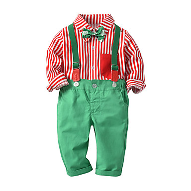 povoljno Odjeća za dječake-Djeca Dijete koje je tek prohodalo Dječaci Osnovni Ulični šik Božić Festival Djed Mraz Prugasti uzorak Mašna Dugih rukava Regularna Normalne dužine Komplet odjeće Red