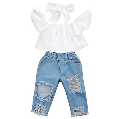 رخيصةأون مجموعات ملابس البيبي-مجموعة ملابس بدون كم لون سادة أبيض / أزرق للفتيات طفل