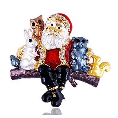 levne Dámské šperky-Dámské Brože Klasika Rabbit Vánoční santa obleky Klasické Vintage Moderní Módní Cute Style Umělé diamanty Brož Šperky Zlatá Pro Vánoce Dar Klub Festival