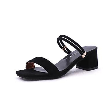 levne Dámské sandály-Dámské Sandály Block Heel Otevřený palec Elastická tkanina Léto Černá / Khaki