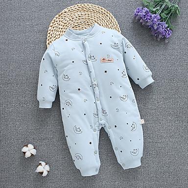 povoljno Odjeća za bebe-Dijete Djevojčice Aktivan Print Dugih rukava Pamuk Kombinezon Svjetloplav