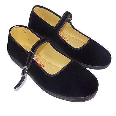 levne Dámské boty s plochou podrážkou-Dámské Bez podpatku Rovná podrážka Oblá špička Semiš Podzim zima Černá