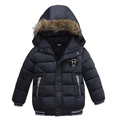 preiswerte Jacken & Mäntel für Jungen-Kinder Jungen Grundlegend Druck Solide Daunen & Baumwoll gefüttert Schwarz