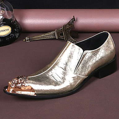 Muškarci Kožne cipele Mekana koža Proljeće ljeto / Jesen zima Vintage / Uglađeni Natikače i mokasinke Non-klizanje Zlato / Zabava i večer