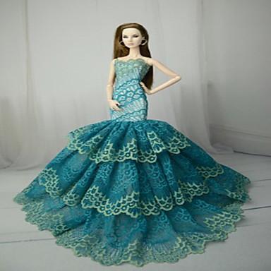 Dollklänning Fest / afton För Barbie Polyester Polyuretan Läder Klänning För Flicka Dockleksak