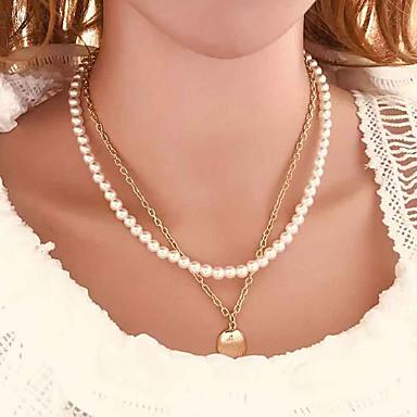 levne Dámské šperky-Dámské Náhrdelníky s přívěšky Náhrdelník vrstvené Náhrdelníky Vícevrstvé Šťastný Klasické Moderní Módní Cikánský hliník Napodobenina perel Zlatá 49 cm Náhrdelníky Šperky 1ks Pro Dar Denní Dovolen