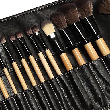 Profissional Pincéis de maquiagem Conjuntos de pincel 24pcs Amiga-do-Ambiente Profissional Macio Cobertura Total sintético Pêlo Sintético Madeira Pincéis de Maquiagem para