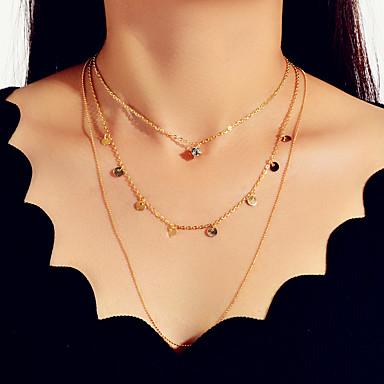 levne Dámské šperky-Dámské Náhrdelník Geometrické Vertikálně U tvar Moderní Sladký Módní Elegantní Chrome Zlatá 45 cm Náhrdelníky Šperky 1ks Pro Promoce Dar Denní Dovolená Festival