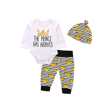 cheap Baby & Toddler Boy-Baby Boys' Casual / Active Print Print Long Sleeve Long Clothing Set White